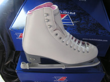 Riedell 14 Pearl Ice Skates  The 14 Pearl shimmers with style. Light support with double synthetic reinforcement. Leather tongue reinforcement adds protection and strength. PVC sole unit with Dri-Lex® lining keeps feet dry. Padded Achilles Tendon collar provides a snug comfortable fit. The Pearl features a special lace bar for additional fun. Stainless steel Luna blade provides great performance.
