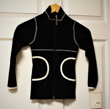 Mondor Model 4800 Skating Jacket  Front zipper jacket  Long sleeve  Mock neck  Side pockets  Topstitching and bias in contrasting color  86% NYLON, 14% ELASTAN