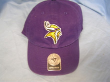 """47 Brand NFL Minnesota Vikings Clean up Strapback Hat  Garment washed for a broken-in look and feel, this purple low-crown relaxed baseball cap is constructed of quality cotton twill detailed with raised embroidery of the Minnesota Vikings NFL logo.     Approx. 4 1/2"""" Crown, 6-Panel 2 3/4"""" Pre-Curved Bill     Made of: 100% Washed Cotton Twill     Classic 6-Panel Crown Sewn Eyelets - For Ventilation Raised Team Logo Embroidery Embroidered '47 Brand Side Hit Sewn Team Logo Tab Self-Fabric Adjustable Strap w/ Snap Brass Buckle     Size: Adjustable - Adjusts via fabric strapback to fit up to size 7 5/8 (XL) comfortably"""