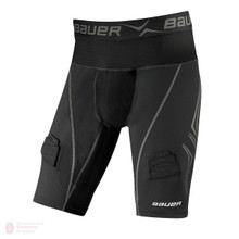 Bauer NG Premium Lock Jock Shorts - Senior  Fabric Content  Main: 42% Cocona 37.5™ polyester / 42% Polyester / 16% Spandex Mesh: 82% Nylon / 18% Spandex Mesh Liner 1: 83% Cocona 37.5™ polyester / 17% Spandex Mesh Liner 2: 48% Cocona 37.5™ polyester / 37% Polyester / 15% Spandex Features and Benefits  Patented LOCKJOCK® fit system positions and locks cup securely in place Revolutionary 37.5™ technology maximizes evaporation of moisture for enhanced comfort and performance Permanent Anti-Odor feature refreshes after washing Strategic mesh inserts for added ventilation Flat lock seams to help reduce chafing Reinforced 3-D hook and loop sock adjusters Locker loop at inside back waist Protective cup included Fit  Compression Fit