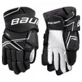 Protection  Backhand - MD foam with poly insert Fingers - MD foam with poly insert Thumb - Ergo-flex thumb Shell - Polyester mesh Cuffroll - Molded cuffroll Palm - Nash with overlay Fit/Mobility  Backhand - Tapered fit Fingers - 2-piece fingers Cuffroll - Raised embroidery BAUER logo Gusset - Poly knit gusset Liner - Hydrophobic mesh