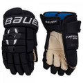Protection  Backhand - Dual density foam with poly insert Fingers - Dual density foam with poly insert Thumb - Patented 2-piece FLEX-LOCK thumb Shell - Pro nylon mesh Cuffroll - Straight cuffroll Palm - QUATTRO Grip palm powered by AX SUEDE™ Fit/Mobility  Backhand - Full volume fit Fingers - 2-piece fingers Cuffroll - Raised embroidery BAUER logo Gusset - Poly knit gusset Liner - THERMO MAX with Sanitized® technology