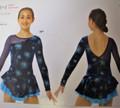 Mondor Model 12929 Girls Skating Dress  Mesh Sleeve and one Velvet Sleeve  Velvet Dress with double layer Skirt