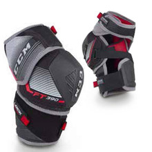 CCM Jetspeed FT390 Senior Hockey Elbow Pads  Construction: 3 Piece Design with Dry Foam Liner - Great mobility with closed cell foam that absorbs less sweat to keep the player dry and the product lightweight Forearm: Molded PE with Extended Coverage - High level of protection Elbow Cap: Molded PE Cap with JDP Design - JDP cap redirects the impact around the joint with a great fit Bicep: Molded PE Shell + New Arched Strap - Lightweight protection and new arched strap keeps pad closer to the body without compromising freedom of movement Attachment: Anatomical Neoprene Middle Strap + Nylon Forearm Strap - Allows the elbow pad to stay closer to the body without compromising freedom movement