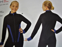 Mondor Model 4300 Ladies Skating Jacket   DESCRIPTION Team or training jacket. • Thumb loop. • Contrasting colar, wristband and insertion. • Branded garment Made with Vuelta fabric:  • Brushed & soft • Perfect fit • Pilling resistant • Shape retention • Thermal protection • Two-way stretch • Bacteriostatic
