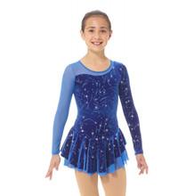 Mondor Model 12930 Skating Dress  Glitter velvet skating dress, Mesh neckline and left sleeve, Skirt doubled with mesh, Button closure, Matching hair tie included Fabric: 90% polyester, 10% elastane Mesh: 82% nylon, 18% elastane Lining: 100% polyester