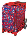 Paisley in Red (Insert Only)  An artsy organic motif of red and blue hues brings a bohemian vibe to this paisley print design capturing an exotic rich style.