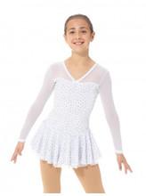 Mondor Model 12931 Skating Dress  Glitter velvet dress, Mesh sleeves and shoulders, Skirt doubled with mesh, Matching hair tie included  Fabric: 90% polyester, 10% elastane Mesh: 82% nylon, 18% elastane