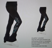 Mondor Model 24450 Polartec Skating Pants  Description:  Polartec® leggings Sequins appliqué on right leg Integrated pocket at waisband Branded garment, reflective logo at waist To be worn over-the-heel  Fabric:  53% polyester, 38% nylon, 9% Lycra® elastane