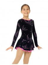 Glitter velvet dress, Mesh sleeves, Straps detail at back, Classic skirt doubled with mesh, Butterfly closure, Shelf bra, Matching hair tie included Fabric: 90% polyester, 10% elastane Mesh: 82% nylon, 18% elastane