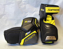 Bauer Supreme S29 Senior Hockey Elbow Pads  Level - Performance  Cap - AMP Molded Split Cap  Bicep - Independant Construction With HD Foam + PE Insert  Forearm - Anatomically Molded PE Protection  Strapping - Y-Shape Comfort Strap  Comfort Liner - Molded Floating Donut  Lining - Thermo Max