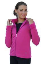 Solid Polar Fleece Fitted Jacket Smooth Faced Polar Fleece Fabric: 49% Polyester, 38% Nylon, 13% Spandex Made in USA