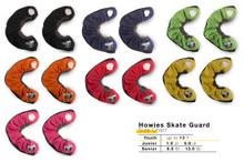 There is nothing worse than losing an edge.  You were just about to pull a hard toe drag when all of a sudden, you find yourself on the ice sliding away from a potentially legendary move.  At Howies, we love legendary moves and edges you can trust - that's the idea behind Howies Skate Guards.  Made extra beefy, our premium skate guards provide maximum protection to eliminate all off-ice blade damage.  Our specialized dense terry cloth adds cushion and absorbs moisture to prevent rust.  Be sure to sharpie your digits on the player number plate so everyone knows those wheels are yours.  Warning...now you can only blame that pesky blue line for losing an edge.