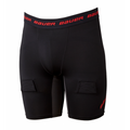 Bauer Essential Compression Youth Jockey SHorts (S19)  Bauer Essential Compression Youth Jock Short come equipped with Sanitzed technology which prevents the growth of bacteria that causes odor. The cup is securely held in place with an internal sling and elastic suspension system. Built for comfort, there are strategic mesh inserts for added ventilation, flat lock seems that help reduce chafing, reinforced hook & loop sock adjusters and a locker loop at the inside back waist.