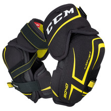 CCM Tacks 9040 Senior Hockey Elbow Pads  The CCM Tacks 9040 Senior Elbow Pads offer a high level of protection in a lightweight, comfortable pad.  CAP:JDP ELBOW CAP -Great level of lightweight protection dispersing the force of impactaway from the elbow joint. BICEPS:MOLDED PE INSERT WITH EXTENDED COVERAGE -Designed for great level of protection and comfort. FOREARM:MOLDED PE FOREARM GUARD -Strategic placement of quality molded PE for excellent protection. ATTACHMENT:STRETCH MIDDLE AND BICEP STRAP WITH WEBBING FOREARM STRAP -Developed for high level comfort and fit that stays in place.