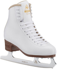 For ultimate performance inside the rink, look no further than the Jackson Ultima® Women's Excel Figure Skates. The Mark II all-purpose, high-quality blade is suitable for all beginner skaters. The vinyl coated upper and stylized PVC outsole provide maximum comfort and durability. A foam-backed mesh tongue offers added comfort from practice to performance.  FEATURES:  Beginner-level figure skates Vinyl coated upper with synthetic lining Foam backed comfort tongue Stylized PVC outsole Ultima® MARK II figure blade attached with screws Jackson® Support Rating: Light Support – Level 5 Beginner Style: JS1290 Jackson Ultima Brand : Jackson Ultima Skates Country of Origin : Imported Style : JS1290