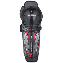 CCM Jetspeed FT370 Shin Guards  Construction • Lightweight shell design and hinge system for improved mobility and protection  Calf Guard • Molded PE Calf Protector + New Adjustable Calf Strap for protection and fit for all calf sizes  Knee / Shin Caps • Anatomical shin caps with vented knee cap for protection  Thigh • PE foam for protection  Attachment • Upper Lock Strap with Comfort Cushion + New Adjustable Calf Strap for customizable adjustment for fit for all calf sizes  Liner • PE Foam / Removable Liner for a custom fit, easy maintenance, and protection