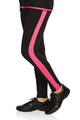 Mondor Model 4802 Skating Pants Child  Leggings with contrasting stripe on both sides Coolmax® gusset Inseam 8-10: 25''; M: 30''  FIBERS  86% NYLON, 14% ELASTANE Color Black with Pink Stripe  Sizes Available - Child 6x-7, Child 8-10,  Price $ 63.99  Sale Price $49.99