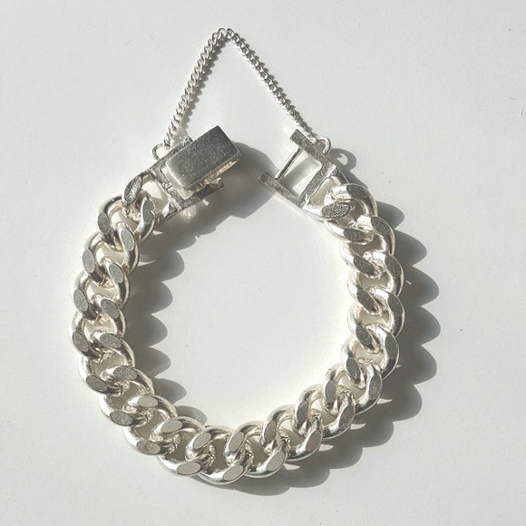 Chunky 10mm Curb Chain Bracelet Sterling Silver