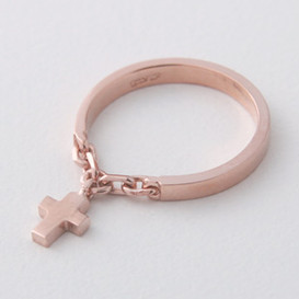Rose Gold Cross Charm Chain Ring Sterling Silver