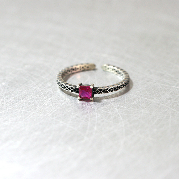 Square Ruby Oxidized Ring Cuff Sterling Silver from kellinsilver.com