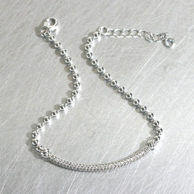 Curved Pave Bar Ball Bracelet Sterling Silver from kellinsilver.com