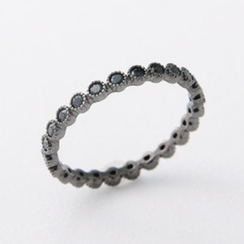 Black Spinel Eternity Band Ring Sterling Silver