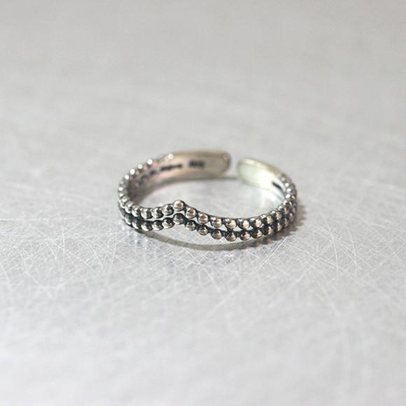 Milgrain Double Chevron Ring Cuff Oxidized Sterling Silver from kellinsilver.com