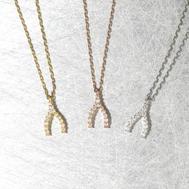 Very Tiny Swarovski Wishbone Charm Necklace Sterling Silver from kellinsilver.com