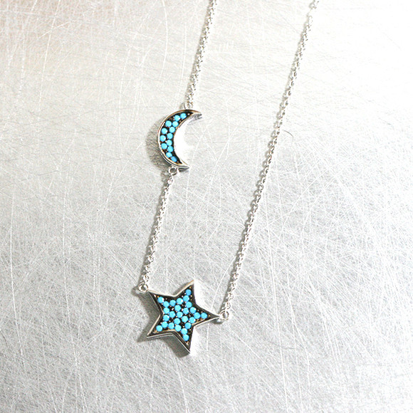 Turquoise Crescent Moon and Star Necklace Sterling Silver from kellinsilver.com