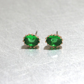 Swarovski Emerald Oval Stud Earrings Rose Gold from kellinsilver.com