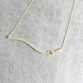 Yellow Gold CZ Infinity Wave Bar Necklace Sterling Silver from kellinsilver.com