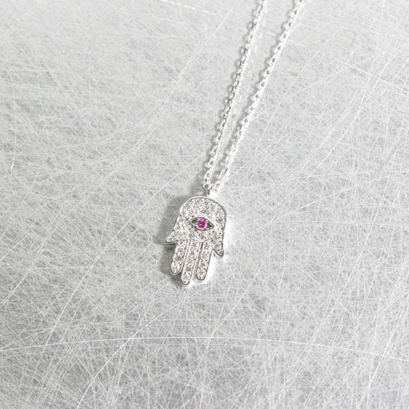 White Gold Ruby Swarovski Hamsa Evil Eye Necklace Sterling Silver from kellinsilver.com