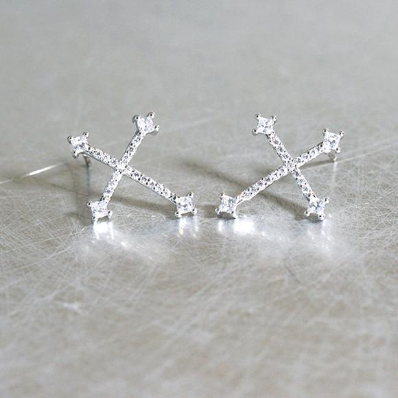 Swarovski White Gold Saint Cross Drop Earrings from kellinsilver.com