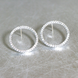 White Gold Swarovski Outline Circle Earrings Stud from kellinsilver.com