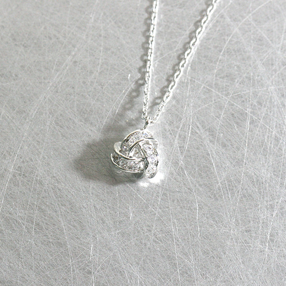 infinity necklace. white gold swarovski triangle knot infinity necklace sterling silver from kellinsilver.com