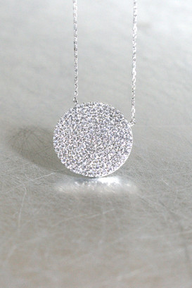 Swarovski White Gold Pave Disc Necklace Sterling Silver at kellinsilver.com