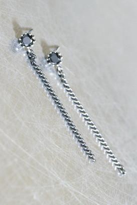 Black CZ Oxidized Sterling Silver Chain Drop Earrings from kellinsilver.com