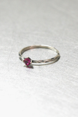 Ruby Solitaire Oxidized Silver Ring from kellinsilver.com