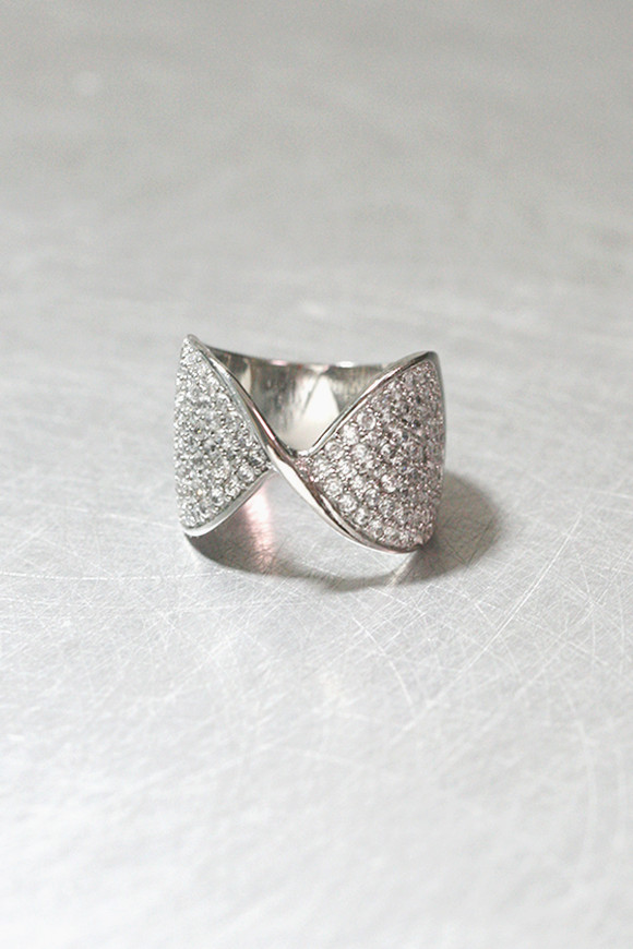 CZ Pave Twist Bow Ring Sterling Silver from kellinsilver.com