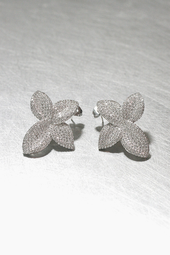 CZ Pave Awesome Flower Stud Earrings Sterling Silver from kellinsilver.com