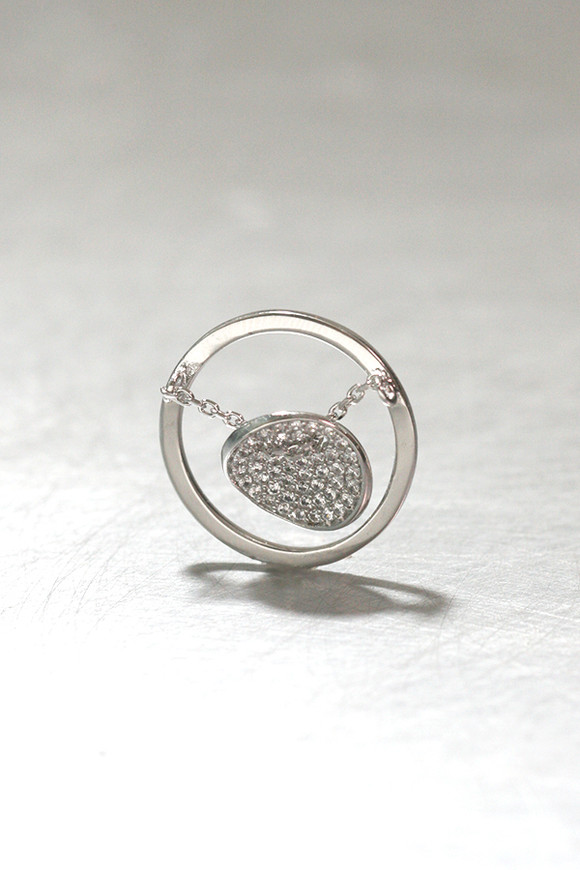 CZ Pave Disc Charm Ring Sterling Silver from kellinsilver.com