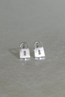 Silver Lock Stud Earrings from kellinsilver.com