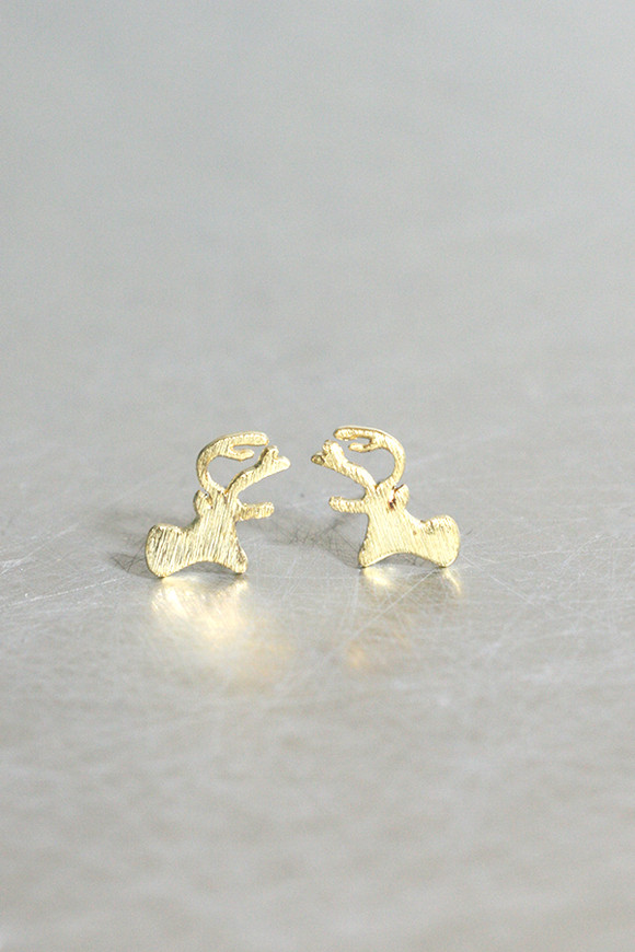 Gold Christmas Rudolph Stud Earrings from kellinsilver.com