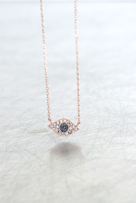 Rose Gold Small Evil Eye Sapphire Blue Necklace Sterling Silver from kellinsilver.com