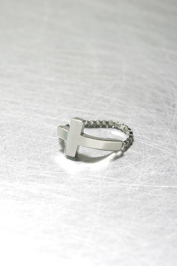 White Gold Sideways Cross Ring Sterling Silver on kellinsilver.com