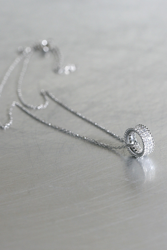 Milgrain Pave Wedding Necklace Sterling Silver From Kellinsilver