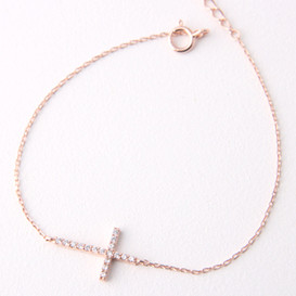 Sterling Silver Swarovski Sideways Cross Bracelet Rose Gold