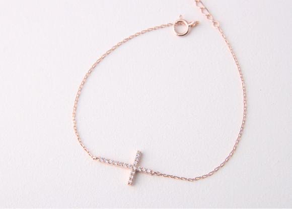 Sterling Silver Swarovski Sideways Cross Bracelet Rose