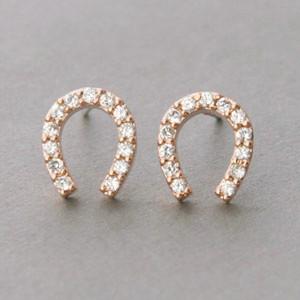 Swarovski Horseshoe Stud Earrings Rose Gold Kellinsilver Com